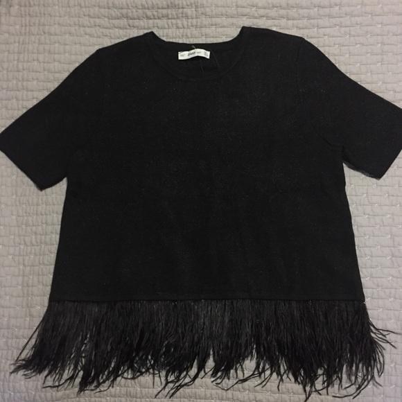 78f2db4b Zara Tops | Knit Black Sparkle Top With Feather Trim | Poshmark